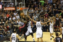 Miami guard Dwayne Wade goes to the rack against the Spurs in Game 5. Photo Credit: Antonio Uzeta/News4usonline.com