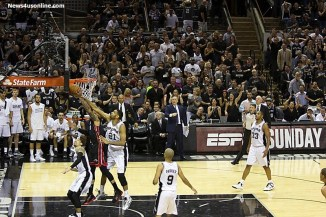 The Spurs' Tim Duncan gets a hand on this blocked shot. Photo Credit: Antonio Uzeta/News4usonline.com