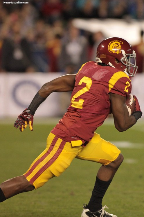 USC's Adoree Jackson swung the game in the Trojans' favor with two big plays. Photo Credit: Jevone Moore/News4usonline.com