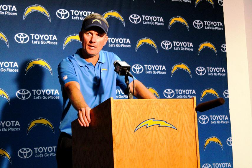 San Diego coach Mike McCoy speaks with reporters after the Chargers lost to the Denver Broncos. Photo: News4usonline.com