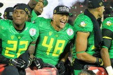 Oregon players celebrate after beating Florida State 59-20 in the Rose Bowl in Pasadena, California. Photo by Dennis J. Freeman/News4usonline.com