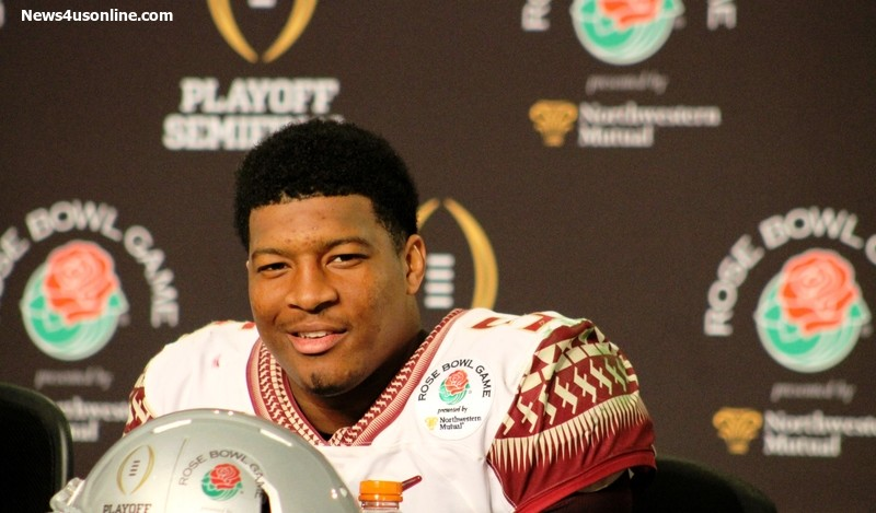 Florida State quarterback Jameis Winston shrugs off the Seminoles' 59-20 defeat to Oregon in the 2015 Rose Bowl. Photo by Dennis J. Freeman/News4usonline.com