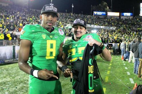 Oregon players celebrate beating Florida State in the 2015 Rose Bowl. Photo by Dennis J. Freeman/News4usonline.com