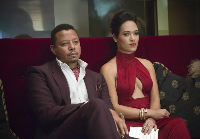 "EMPIRE: Lucious (Terrence Howard, L) and Anika (Grace Gealey, R) watch Hakeem and Jamal perform in the ""Outspoken King"" episode of EMPIRE airing Monday, Jan. 14 (9:00-10:00 PM ET/PT) on FOX. ©2014 Fox Broadcasting Co. CR: Chuck Hodes/FOX"