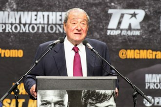 Promoter Bob Arum during the Mayweather vs Pacquiao Press Conference at Nokia Theater. Photo Credit: Jevone Moore/News4usonline.com