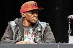 Floyd Mayweather Sr. listens to the pre-match hype at the Los Angeles press conference.