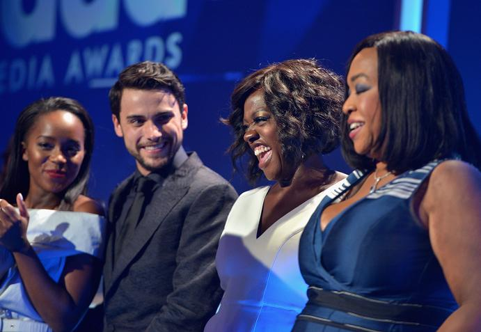 BEVERLY HILLS, CA - MARCH 21:  (L-R) Actors Aja Naomi King, Jack Falahee, Viola Davis and writer-producer Shonda Rhimes accept the Outstanding Drama Series award for 'How To Get Away With Murder' onstage during the 26th Annual GLAAD Media Awards at The Beverly Hilton Hotel on March 21, 2015 in Beverly Hills, California.  (Photo by Charley Gallay/Getty Images for GLAAD)