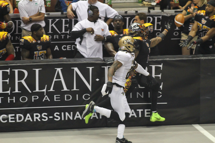 Donovan Morgan has a potential Touchdown just out of reach. Photo by Jevone Moore
