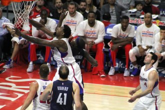DeAndre Jordan was dominate against the Memphis Grizzlies Saturday, April 11, 2015. Jordan scored 16 points and pulled down 16 rebounds in the Clippers' 94-86 win at Staples Center. Photo Credit: Dennis J. Freeman/News4usonline.com
