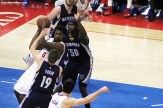 DeAndre Jordan clears the lane after grabbing one of his 16 rebounds against the Memphis Grizzlies Saturday, April 11, 2015. Photo Credit: Dennis J. Freeman/News4usonline.com
