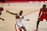 Clippers guard Chris Paul in a lot of emotion against the Houston Rockets. Photo by Jevone Moore/News4usonline