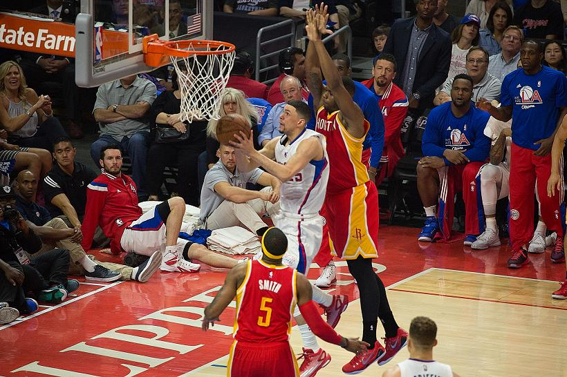 Austin Rivers goes in for a layup against the Houston Rockets in Game 4. Photo Credit: Tiffany Zablosky/News4usonline.com