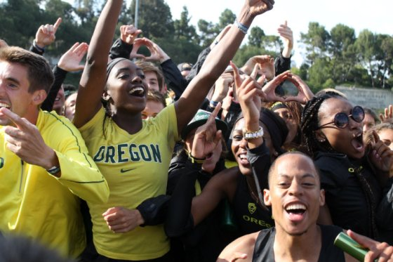 The Oregon Ducks men's and women's teams celebrate winning another Pac-12 Championships. Photo by Dennis J. Freeman/News4usonline.com