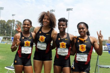 USC's Deanna Hill, Ky Westbrook, Alexis Faulknor and Tynia Gaither are all smiles after winning the women's 4x100 relay race. Photo by Dennis J. Freeman/News4usonline.com