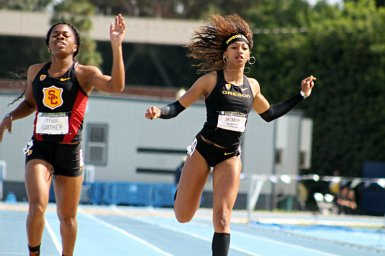 USC's Tynia Gaither nips Oregon star Jasmine Todd in the 200 meters. Todd was selected as Women's Athlete of the Meet. Photo by Dennis J. Freeman/News4usonline.com