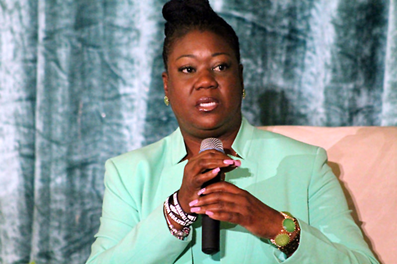 """Trayvon Martin's mother, Sybrina Fulton, tries to convey her message at the """"Black Mothers Standing in the Gap"""" event sponsored by Congresswoman Maxine Waters and the Black Women's Forum at the Westin Los Angeles Airport Hotel, May 30, 2015. Photo by Dennis J. Freeman/News4usonline.com"""