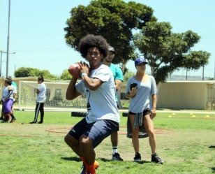 The 7th Annual Marcedes Lewis Football Camp, held at Long Beach High School in Long Beach, California, featured skill drills in footwork, speed, catching and passing. Photo by Dennis J. Freeman/News4usonline.com