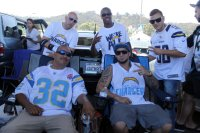 Chargers fans getting ready for the season-opening game against the Detroit Lions. Photo by Dennis J. Freeman/News4usonline.com