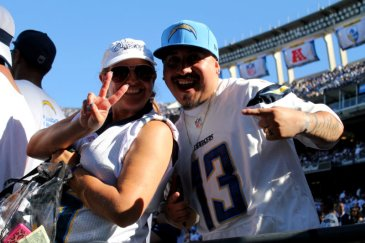 Chargers fans celebrate their team's 33-28 win over the Detroit Lions on Sunday, Sept. 13, 2015. Photo by Dennis J. Freeman/News4usonline.com