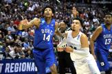 Duke's Brandon Ingram and Oregon's Dillon Brooks battle for a rebound.