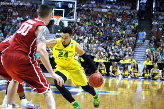 Dillon Brooks had a tough time navigating against the Oklahoma Sooners defense in the Elite Eight game Oregon played at the Anaheim Honda Center.