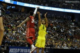 Oregon's Tyler Dorsey shoots over Oklahoma's Buddy Hield in the Elite Eight.