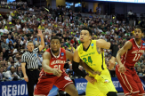 Oregon's Dillon Brooks doing battle with an Oklahoma player in the Elite Eight.