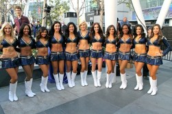Los Angeles Rams cheerleaders on site to celebrate the team's selection in the 2016 NFL Draft in downtown Los Angeles. Photo by Dennis J. Freeman/News4usonline.com