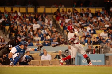 The Angels scored their only run of the game during their 5-1 defeat to the Dodgers, in the second inning. Photo by Astrud Reed/News4usonline.com