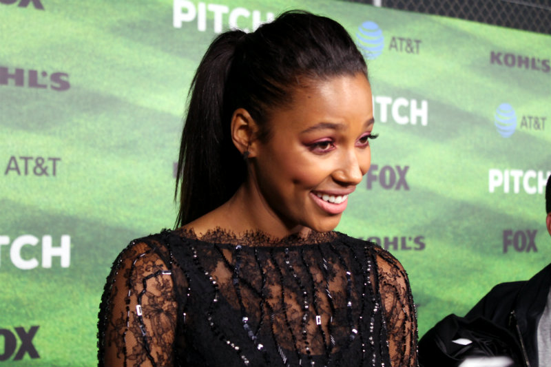 """Actress Kylie Bunbury at the Los Angeles premiere of """"Pitch."""" Photo by Dennis J. Freeman"""