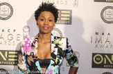 The lovely Emayaatzy Corinealdi (Roots) looking fly on the red carpet at the NAACP Image Awards Nominees Luncheon. Photo by Dennis J. Freeman/News4usonline.com