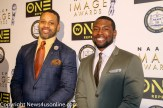 """Bad Dad Rehad"" director Carl Seaton (left) and ""Moonlight"" star Trevante Rhoades are all smiles at the NAACP Image Awards Nominees Luncheon. Photo by Dennis J. Freeman/News4usonline.com"