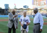 Don Newcombe (Left), Maury Wills and Frank Robinson were honored during the Los Angeles Dodgers African American Heritage Night on Monday, June 19, 2017. Photo by Astrud Reed/News4usonline