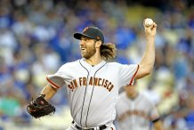 San Francisco Giants pitcher Madison Bumgarner pitched the Dodgers tough in a 2-1 win on Saturday, Sept. 23, 2017. Photo by Kevin Carden/News4usonline