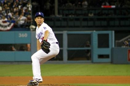 Dodgers pitcher Kenta Maeda in NLDS Game 2 action. Photo by Dennis J. Freeman/News4usonline