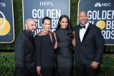 Dwayne Johnson (R) with his daughter Simone Alexandra Johnson and guests on the red carpet of the 75th Annual Golden Globes Awards at the Beverly Hilton in Beverly Hills, CA on Sunday, January 7, 2018.