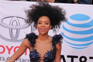 """Niatia Jessica Kirkland better known as """"Lil Mama,"""" goes a different route at the 49th Annual NAACP Image Awards. Photo by Dennis J. Freeman"""