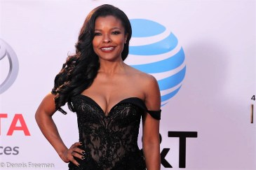 Actress Keesha Sharp flashes her beautful smile at the 49th Annual NAACP Image Awards on Monday, Jan. 15, 2018. Photo by Dennis J. Freeman