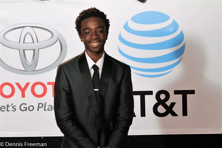 """""""Stranger Things"""" star Caleb McLaughlin is all smiles on the red carpet at the 49th Annual NAACP Image Awards on Monday, Jan. 15, 2018. Photo by Dennis J. Freeman"""