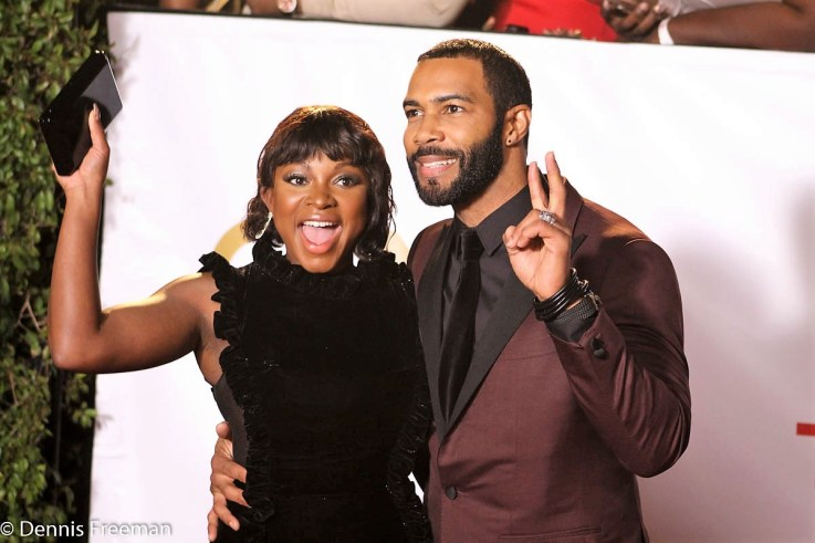 """""""Power"""" co-stars Naturi Naughton and Omari Hardwick get revved up on the red carpet at the 49th Annual NAACP Image Awards on Monday, Jan. 15, 2018. Photo by Dennis J. Freeman"""