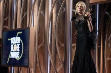"""Nicole Kidman accepts the Golden Globe Award for BEST PERFORMANCE BY AN ACTRESS IN A LIMITED SERIES OR A MOTION PICTURE MADE FOR TELEVISION for her role in """"Big Little Lies"""" at the 75th Annual Golden Globe Awards at the Beverly Hilton in Beverly Hills, CA on Sunday, January 7, 2018."""