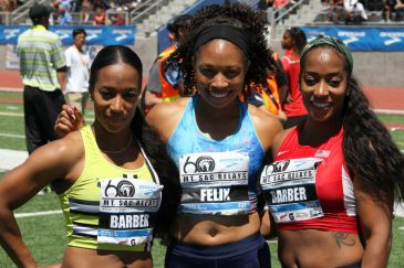 Twins Mikele Barber (left) and Me'Lisa Babrber shows some love to track and field star Allyson Felix at the 2018 Mt. SAC Relays. Photo by Dennis J. Freeman for News4usonline