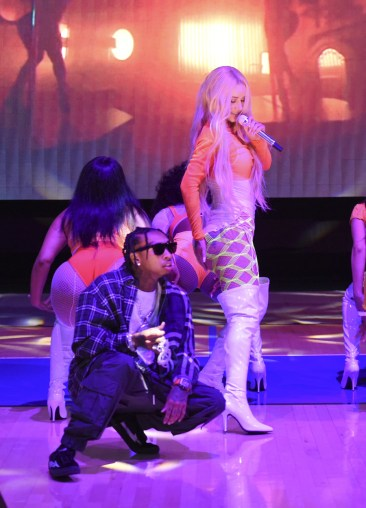 WESTWOOD, CA - JULY 17: Tyga and Iggy Azalea perform at Monster Energy Outbreak Presents $50K Charity Challenge Celebrity Basketball Game at UCLA's Pauley Pavilion on July 17, 2018 in Westwood, California. (Photo by Vivien Killilea/Getty Images Idol Roc)