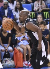 WESTWOOD, CA - JULY 17: Floyd Mayweather plays basketball at Monster Energy Outbreak Presents $50K Charity Challenge Celebrity Basketball Game at UCLA's Pauley Pavilion on July 17, 2018 in Westwood, California. (Photo by Vivien Killilea/Getty Images Idol Roc)