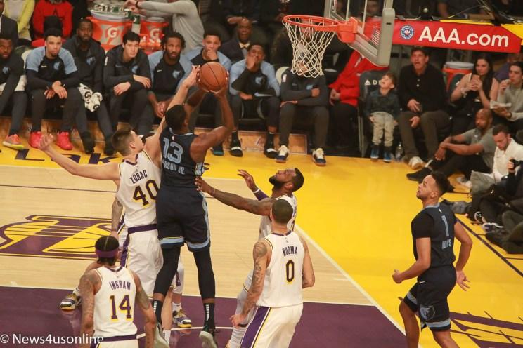 Memphis Grizzlies center Jaren Jackson Jr. goes strong to the basket.