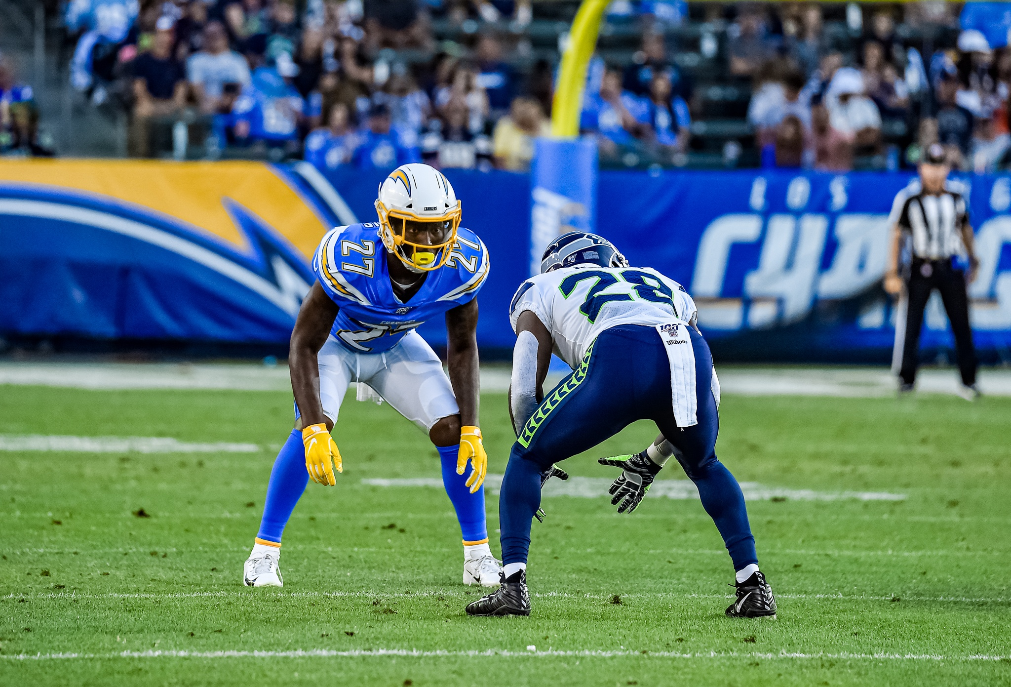 © Mark Hammond/News4usonline - Aug. 24, 2019 - Seahawks vs. Chargers - Chargers defensive back Jaylen Watkins (27) ready for action.