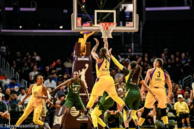 Los Angeles Sparks plays the Seattle Storm in a playoff game at Staples Center