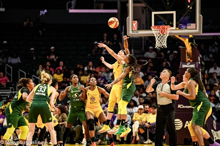 Los Angeles Sparks play the Seattle Storm in WNBA playoff action at Staples Center