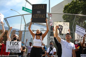Make some noise: Black Lives Matter (Los Angeles) holds a march and rally in downtown Long Beach, California on Sunday, May, 31, 2020. The protest was held to bring attention to police violence in the wake of the death of George Floyd, who died in police custody. Thousands of demonstrators showed up for the event. Photo credit: Dennis J. Freeman/News4usonline