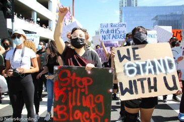 Black Lives Matter (Los Angeles) holds a march and rally in downtown Long Beach, California on Sunday, May, 31, 2020. The protest was held to bring attention to police violence in the wake of the death of George Floyd, who died in police custody. Thousands of demonstrators showed up for the event. Photo credit: Dennis J. Freeman/News4usonline